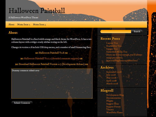 Halloween Paintball WordPress Theme